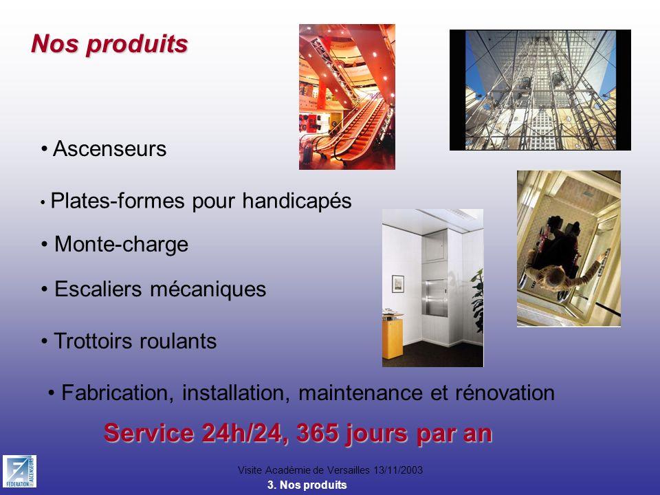 Nos produits Service 24h/24, 365 jours par an Ascenseurs Monte-charge