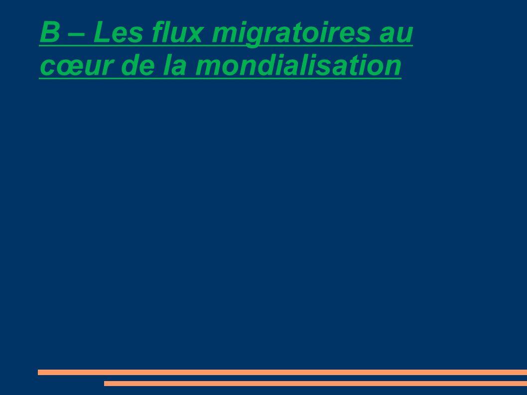 B – Les flux migratoires au cœur de la mondialisation