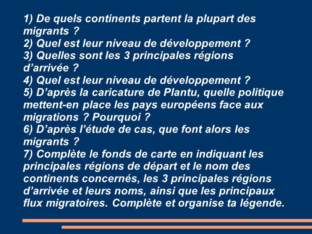 1) De quels continents partent la plupart des migrants