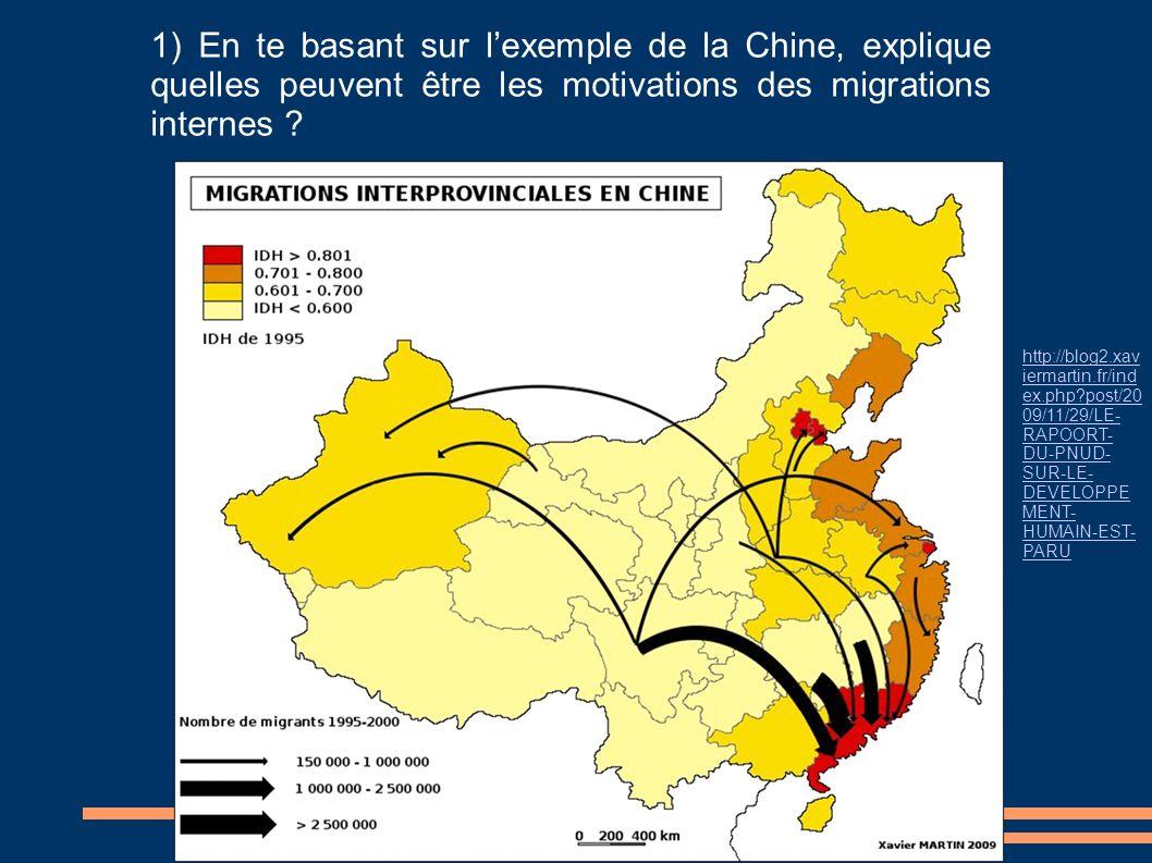 1) En te basant sur l'exemple de la Chine, explique quelles peuvent être les motivations des migrations internes