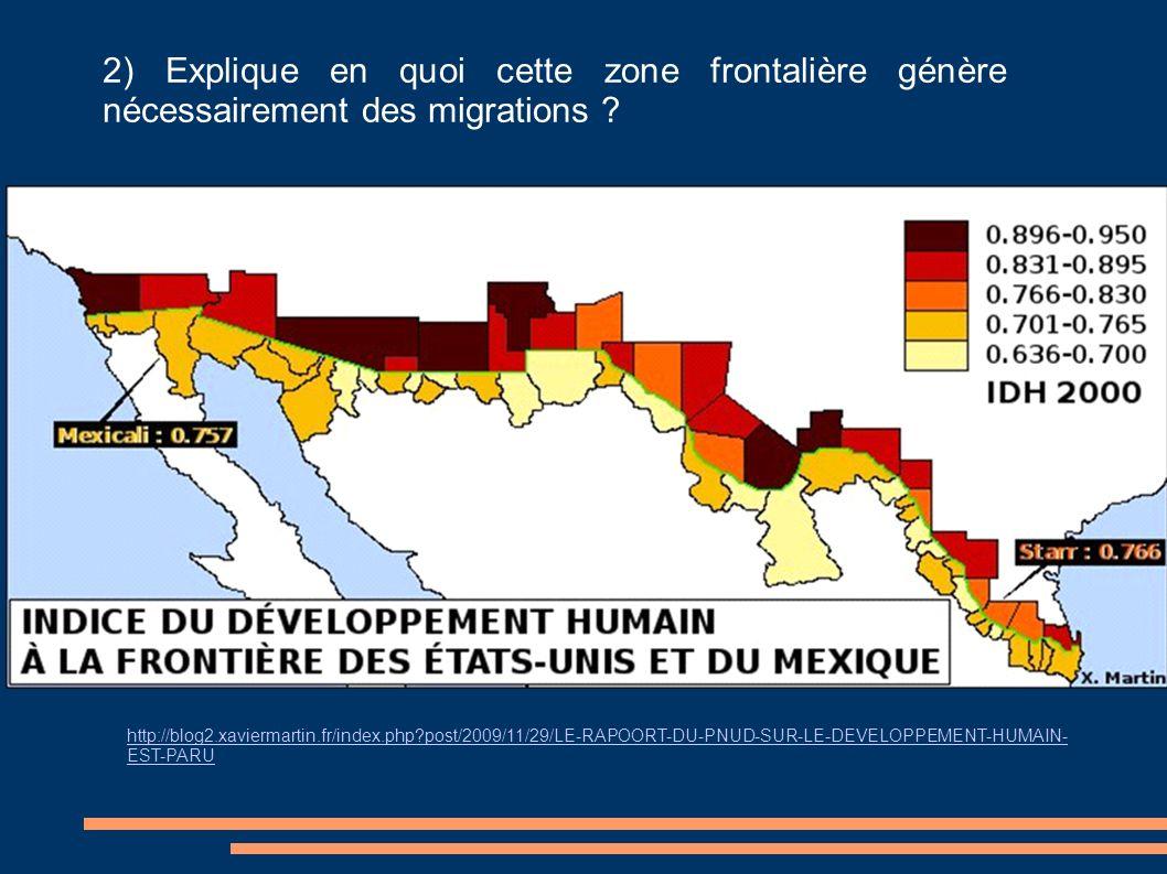 2) Explique en quoi cette zone frontalière génère nécessairement des migrations