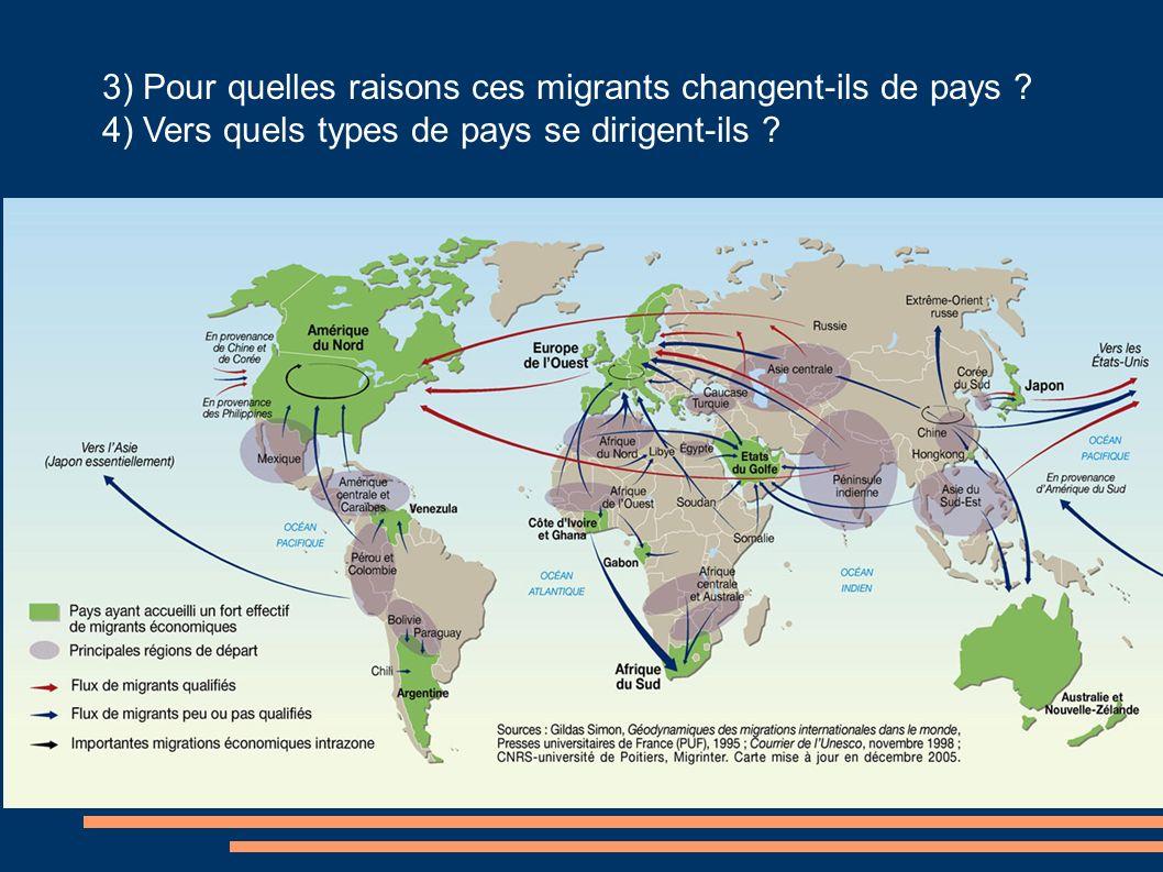 3) Pour quelles raisons ces migrants changent-ils de pays