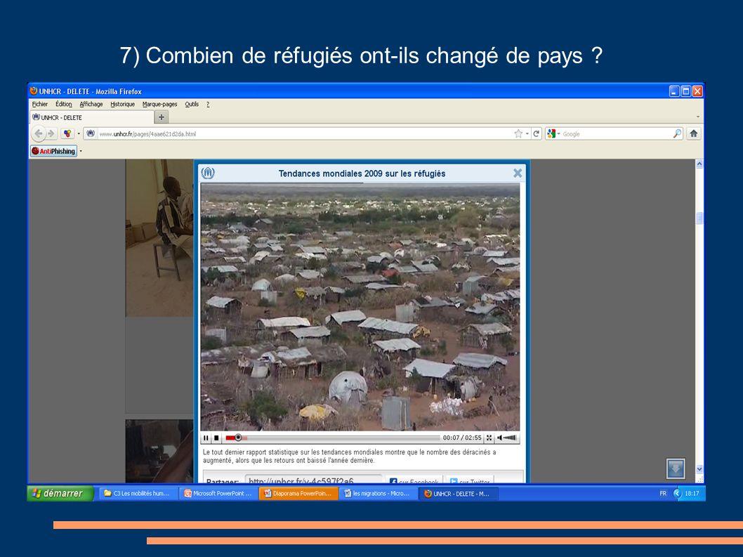 7) Combien de réfugiés ont-ils changé de pays