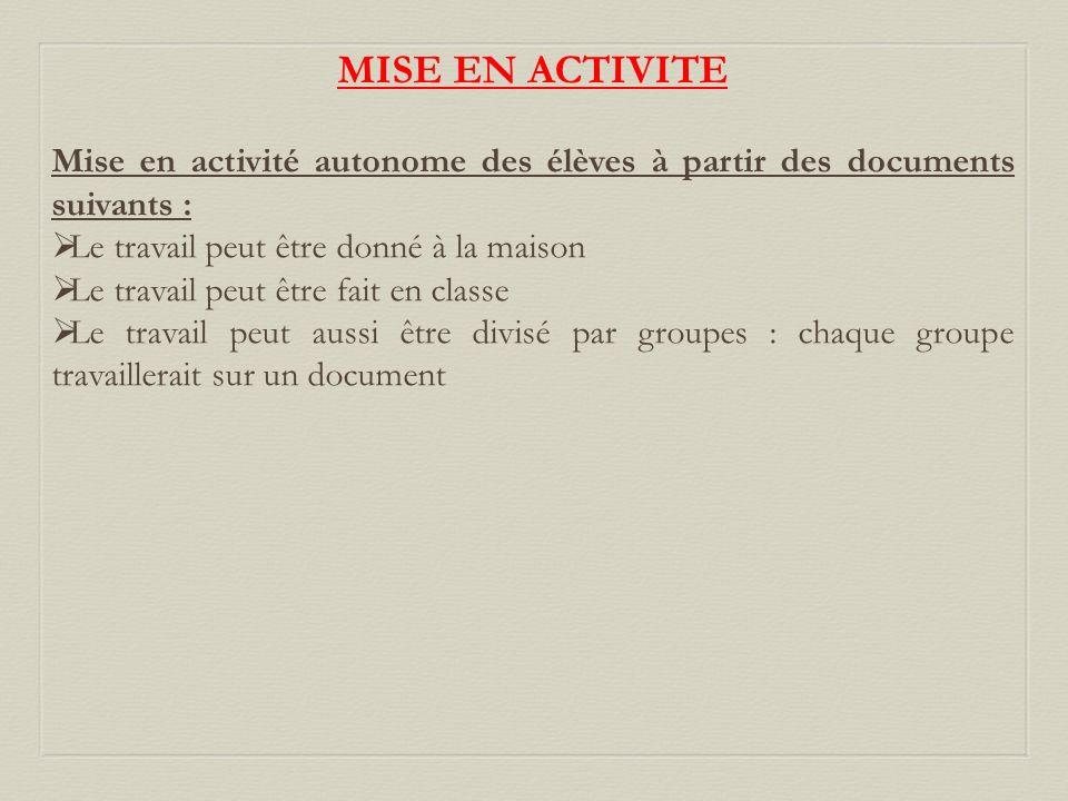 MISE EN ACTIVITE Mise en activité autonome des élèves à partir des documents suivants : Le travail peut être donné à la maison.