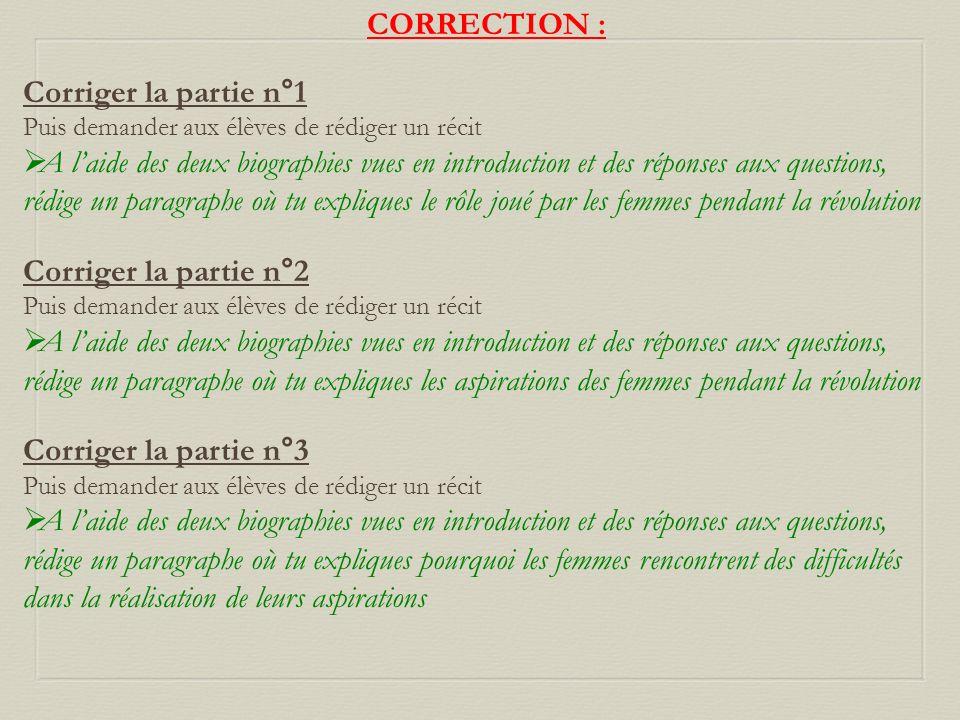 CORRECTION : Corriger la partie n°1