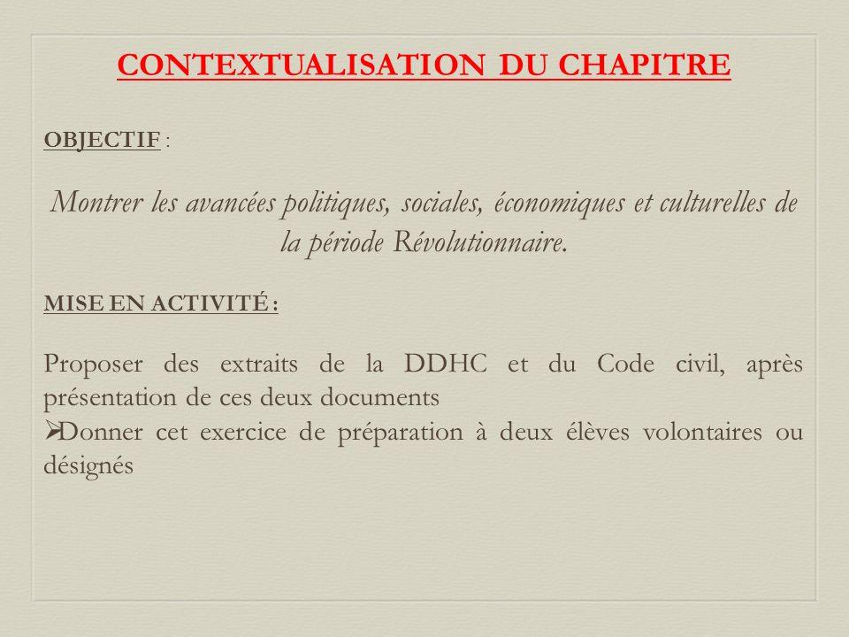 CONTEXTUALISATION DU CHAPITRE