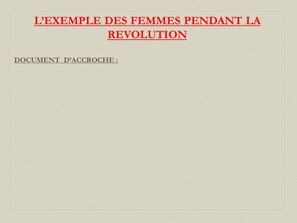L'EXEMPLE DES FEMMES PENDANT LA REVOLUTION