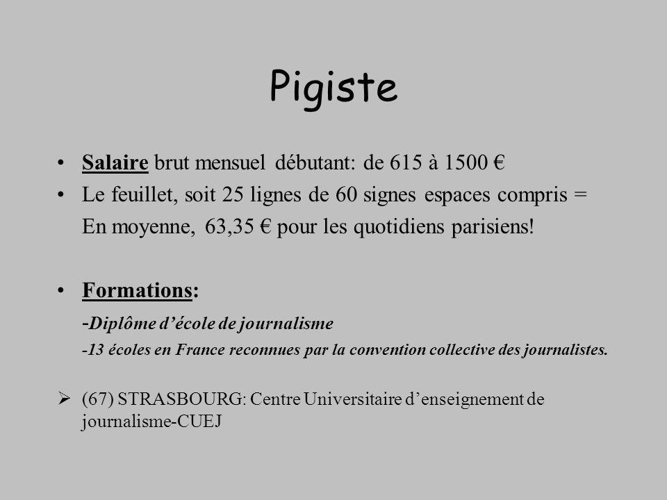 Pigiste Salaire brut mensuel débutant: de 615 à 1500 €