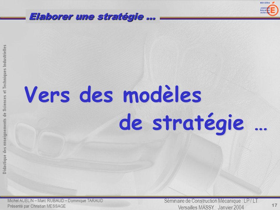 Vers des modèles de stratégie …