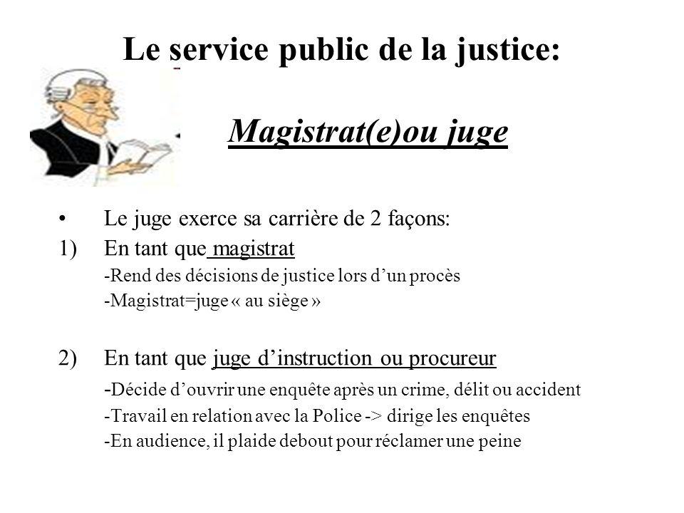 Le service public de la justice: Magistrat(e)ou juge