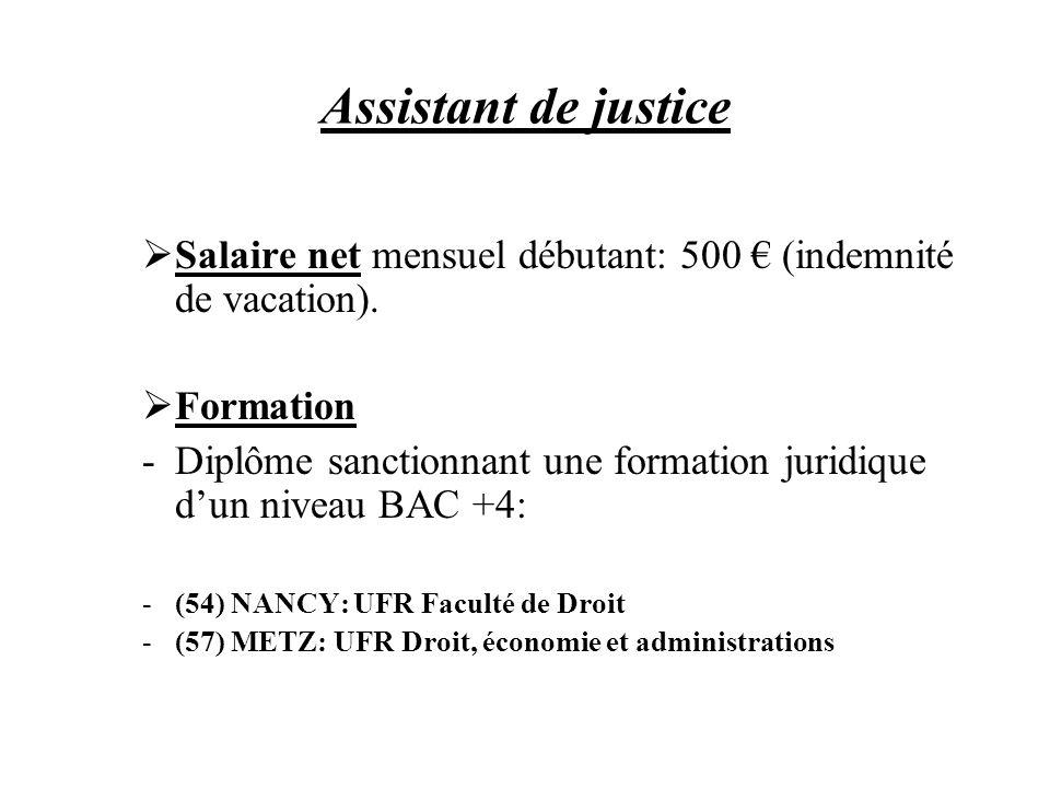 Assistant de justice Salaire net mensuel débutant: 500 € (indemnité de vacation). Formation.