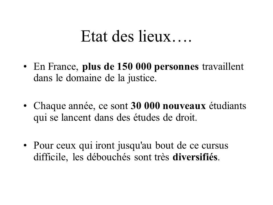 Etat des lieux…. En France, plus de 150 000 personnes travaillent dans le domaine de la justice.