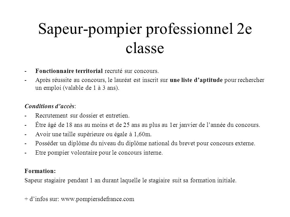 Sapeur-pompier professionnel 2e classe