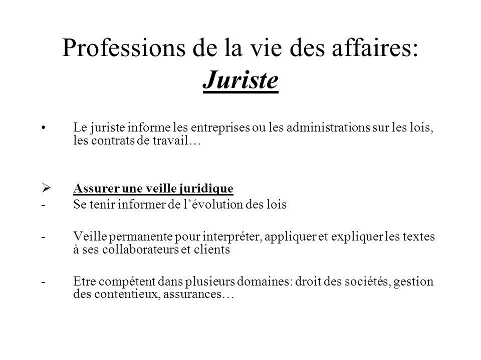 Professions de la vie des affaires: Juriste