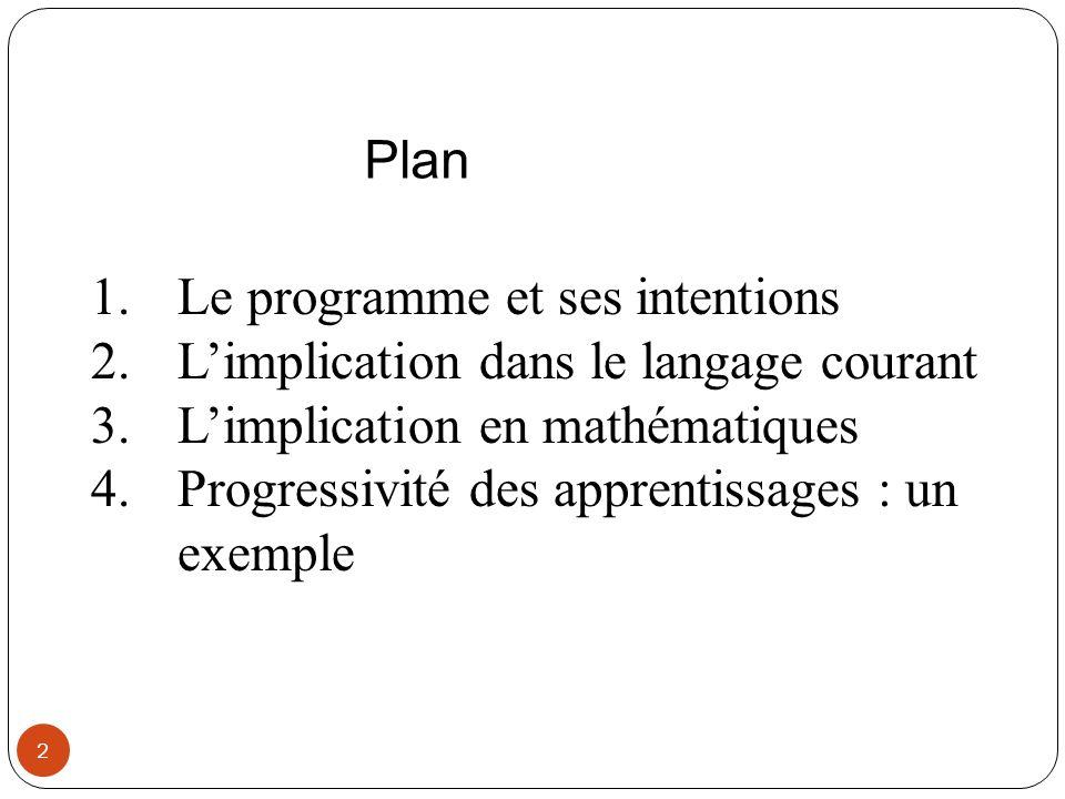 Plan Le programme et ses intentions. L'implication dans le langage courant. L'implication en mathématiques.