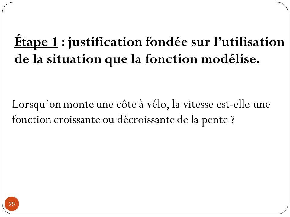 Étape 1 : justification fondée sur l'utilisation de la situation que la fonction modélise.