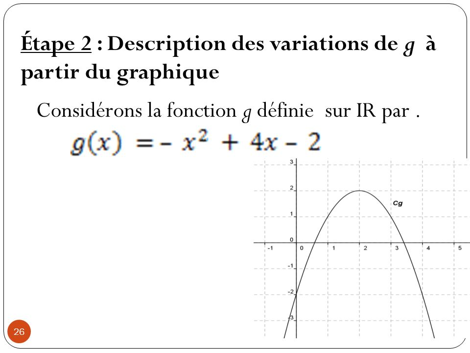Étape 2 : Description des variations de g à partir du graphique
