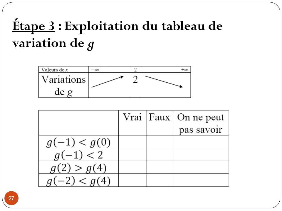 Étape 3 : Exploitation du tableau de variation de g