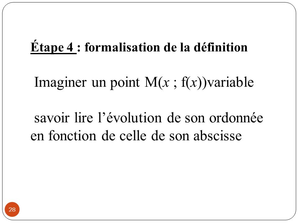 Imaginer un point M(x ; f(x))variable