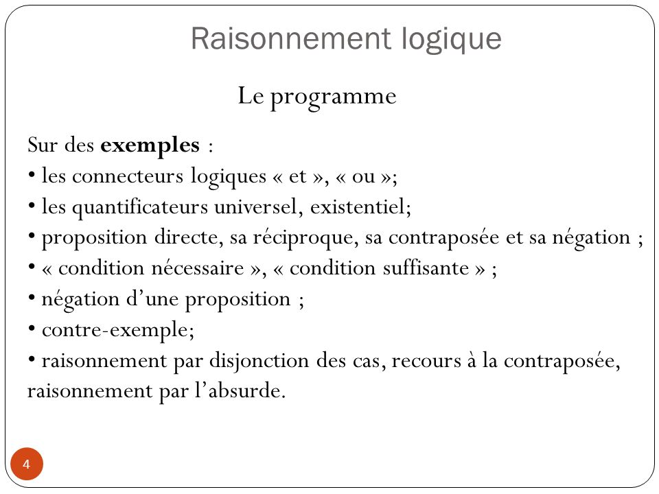 Raisonnement logique Le programme Sur des exemples :