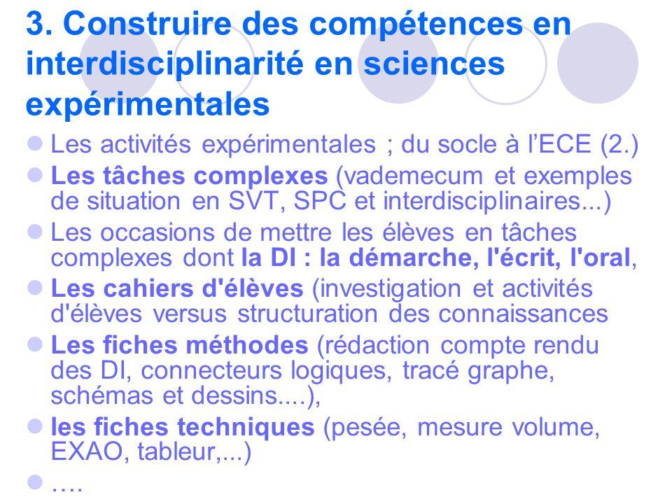 3. Construire des compétences en interdisciplinarité en sciences expérimentales