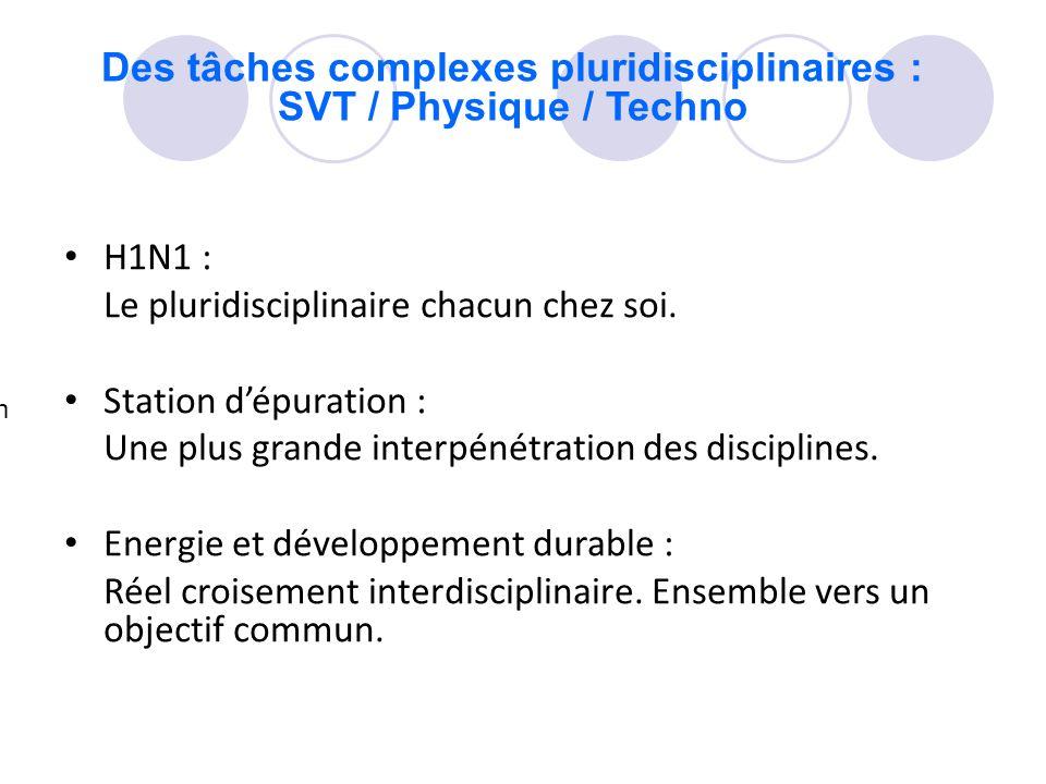Des tâches complexes pluridisciplinaires : SVT / Physique / Techno