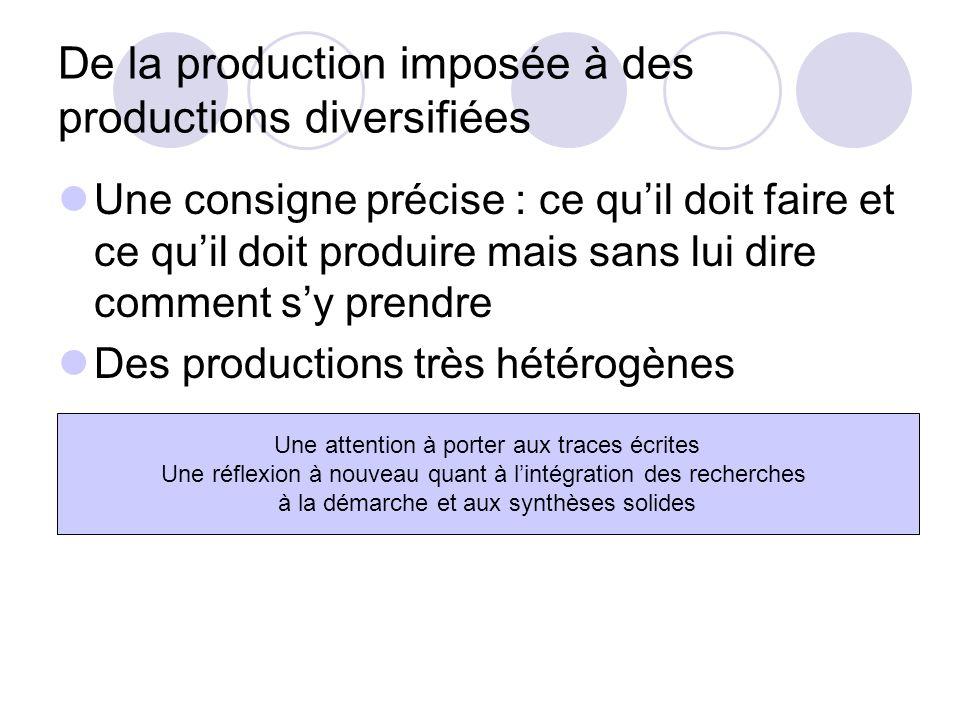 De la production imposée à des productions diversifiées