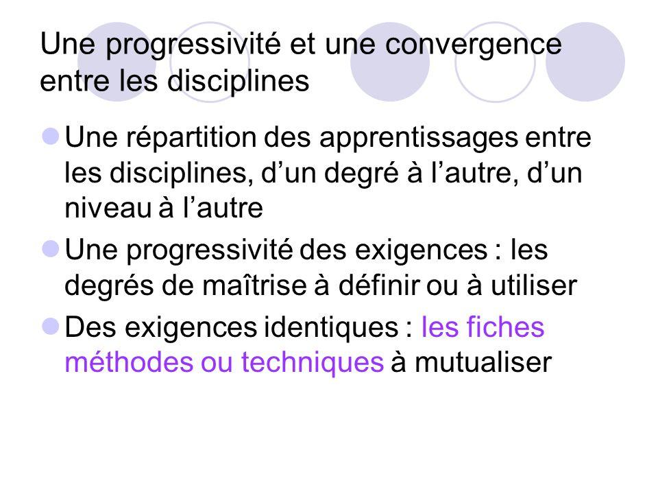 Une progressivité et une convergence entre les disciplines