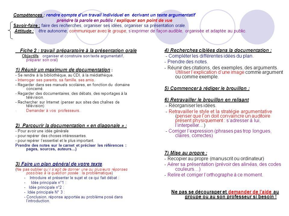 Fiche 2 : travail préparatoire à la présentation orale