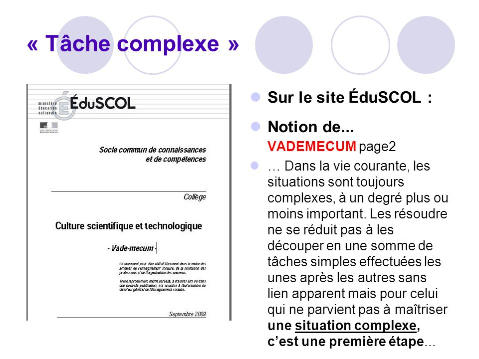 « Tâche complexe » Sur le site ÉduSCOL : Notion de... VADEMECUM page2
