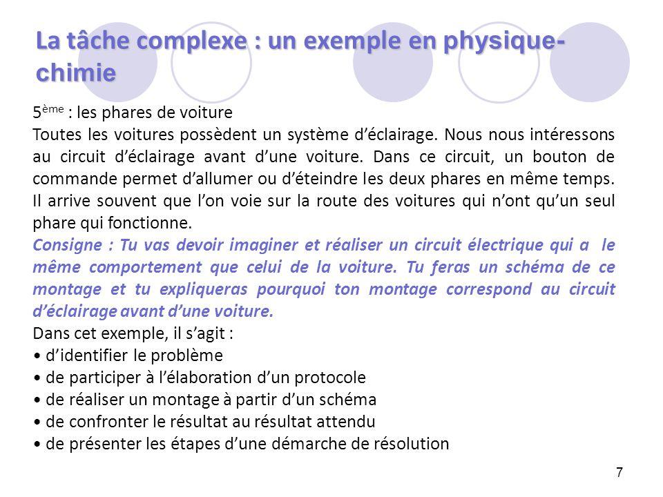 La tâche complexe : un exemple en physique-chimie