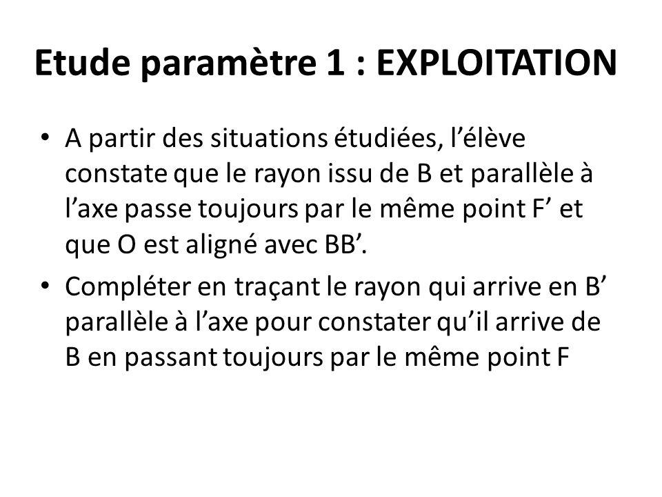 Etude paramètre 1 : EXPLOITATION