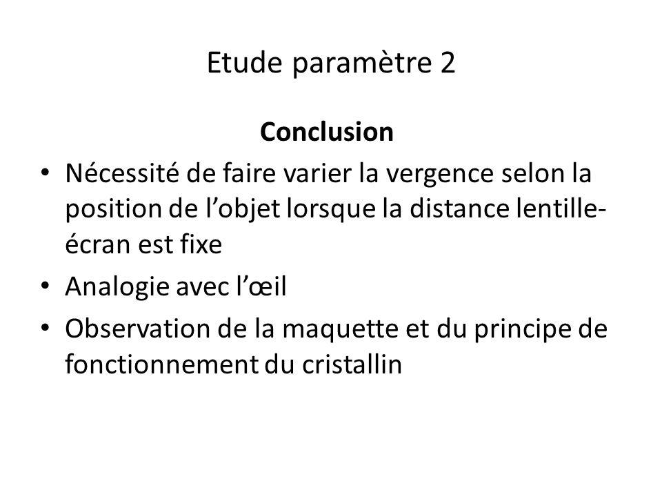 Etude paramètre 2 Conclusion