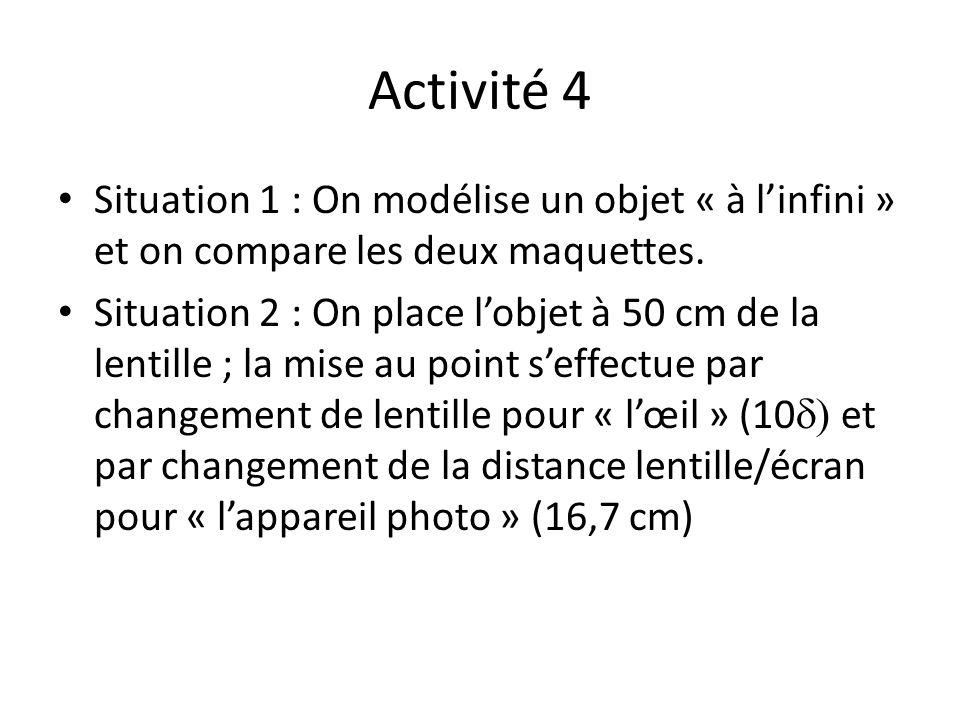 Activité 4 Situation 1 : On modélise un objet « à l'infini » et on compare les deux maquettes.