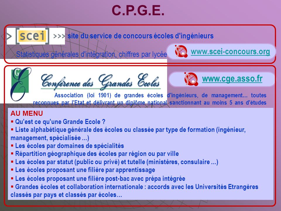 C.P.G.E. www.cge.asso.fr www.scei-concours.org
