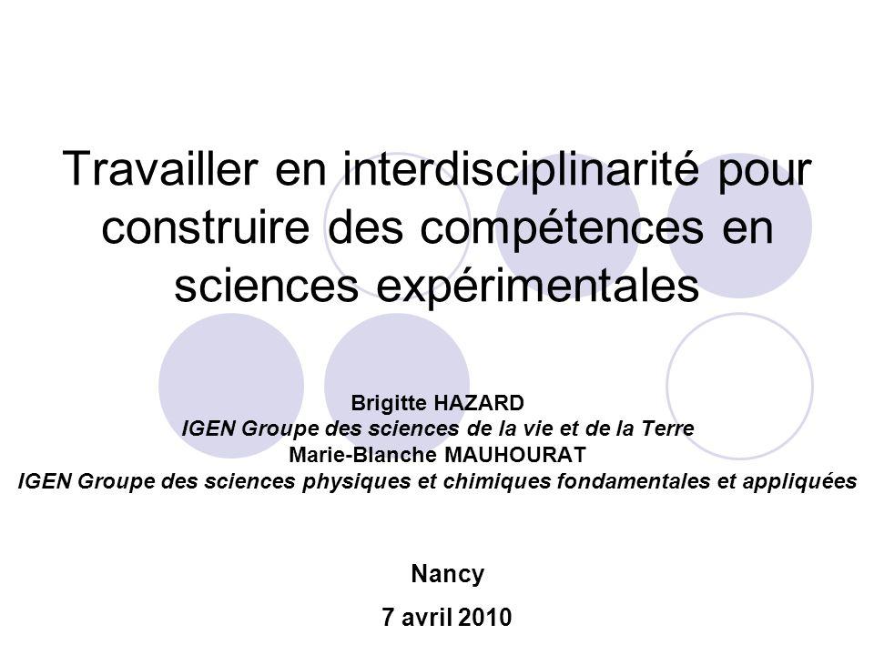 Travailler en interdisciplinarité pour construire des compétences en sciences expérimentales