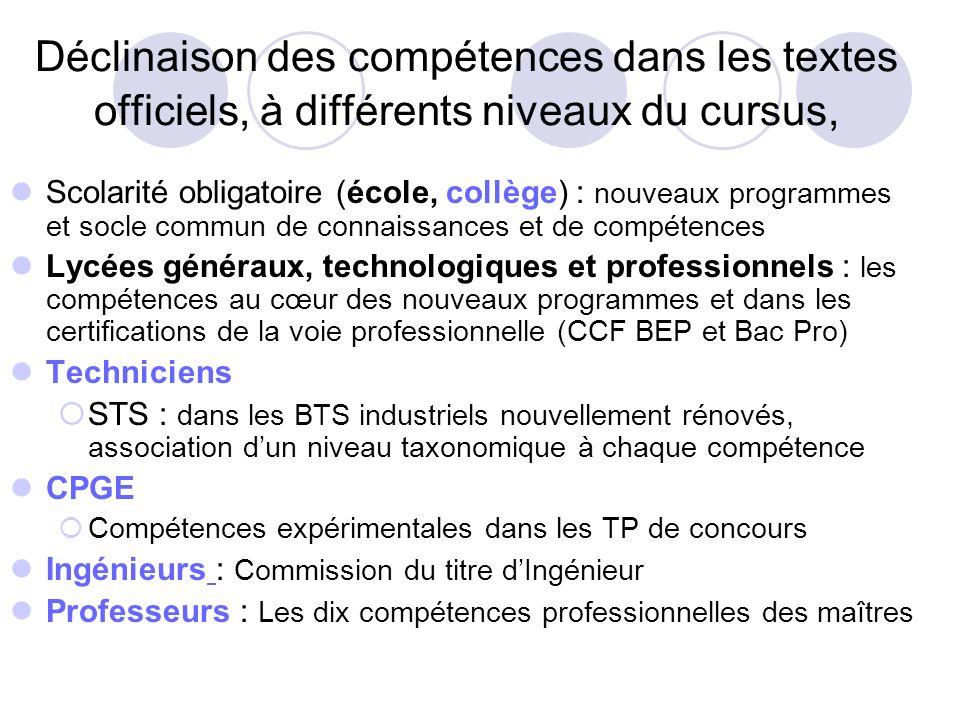 Déclinaison des compétences dans les textes officiels, à différents niveaux du cursus,