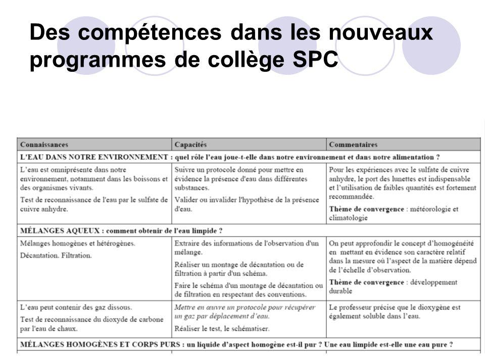 Des compétences dans les nouveaux programmes de collège SPC