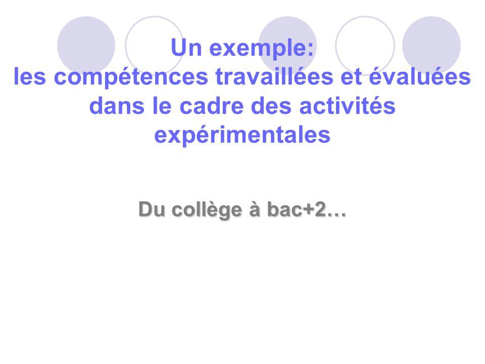 Un exemple: les compétences travaillées et évaluées dans le cadre des activités expérimentales