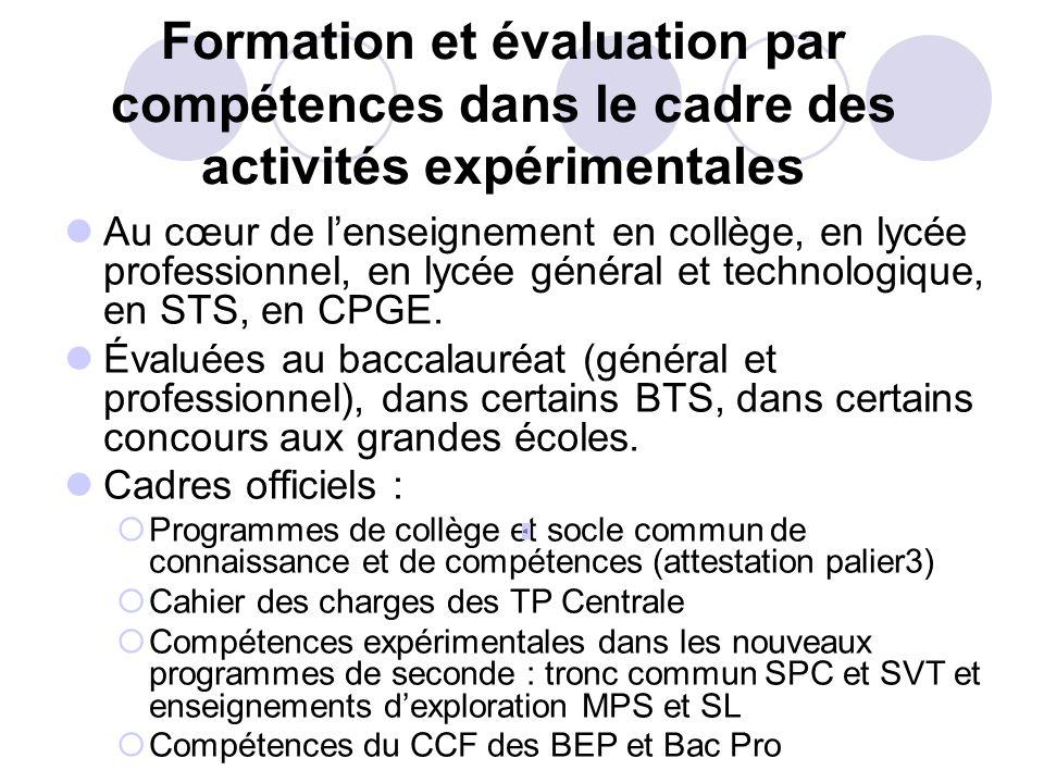 Formation et évaluation par compétences dans le cadre des activités expérimentales