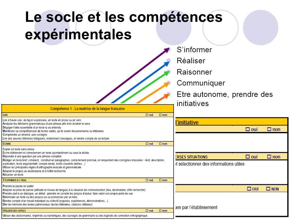Le socle et les compétences expérimentales