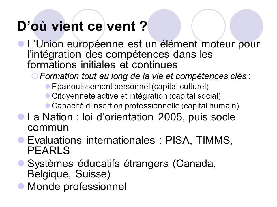 D'où vient ce vent L'Union européenne est un élément moteur pour l'intégration des compétences dans les formations initiales et continues.