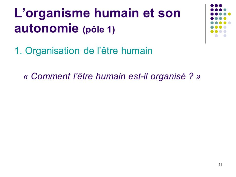 L'organisme humain et son autonomie (pôle 1)
