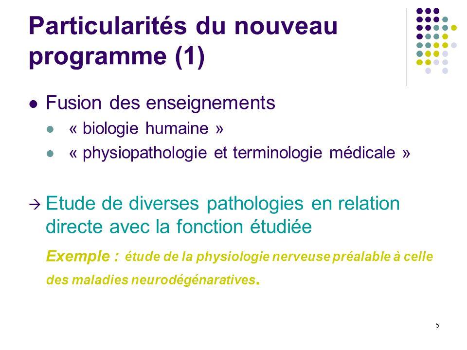 Particularités du nouveau programme (1)