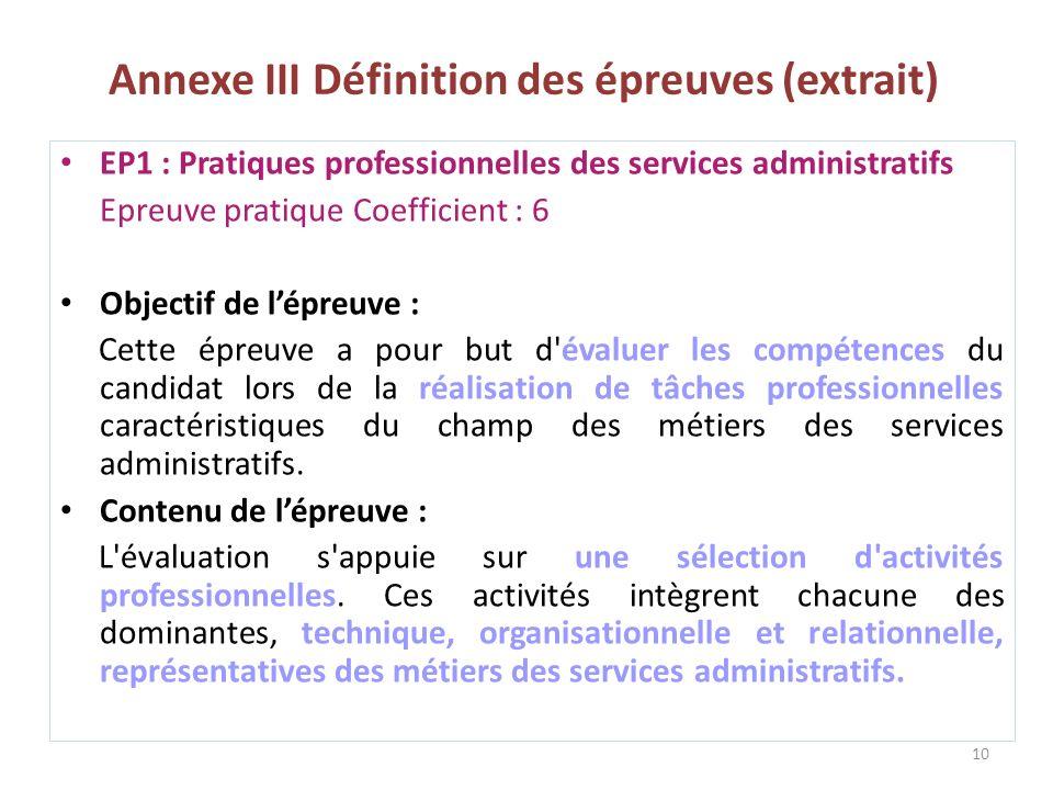 Annexe III Définition des épreuves (extrait)