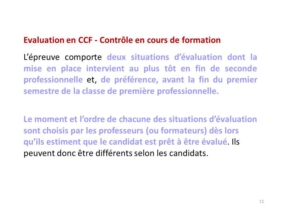 Evaluation en CCF - Contrôle en cours de formation