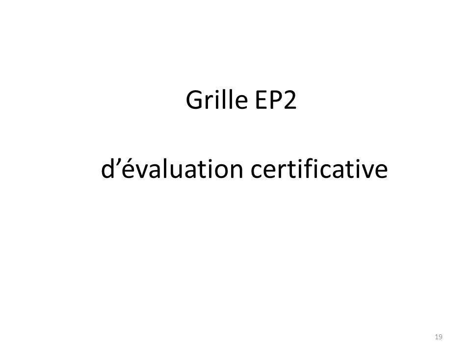 Grille EP2 d'évaluation certificative