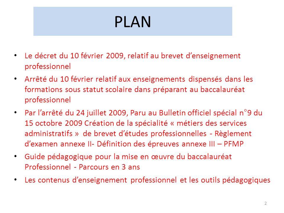 PLAN Le décret du 10 février 2009, relatif au brevet d'enseignement professionnel.