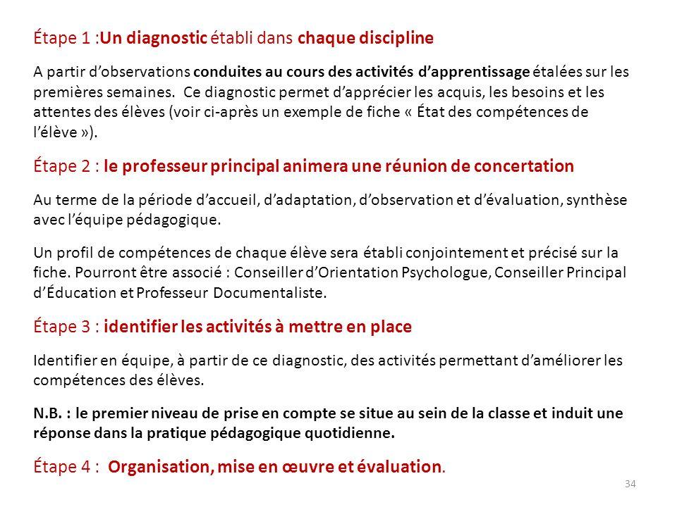 Étape 1 :Un diagnostic établi dans chaque discipline