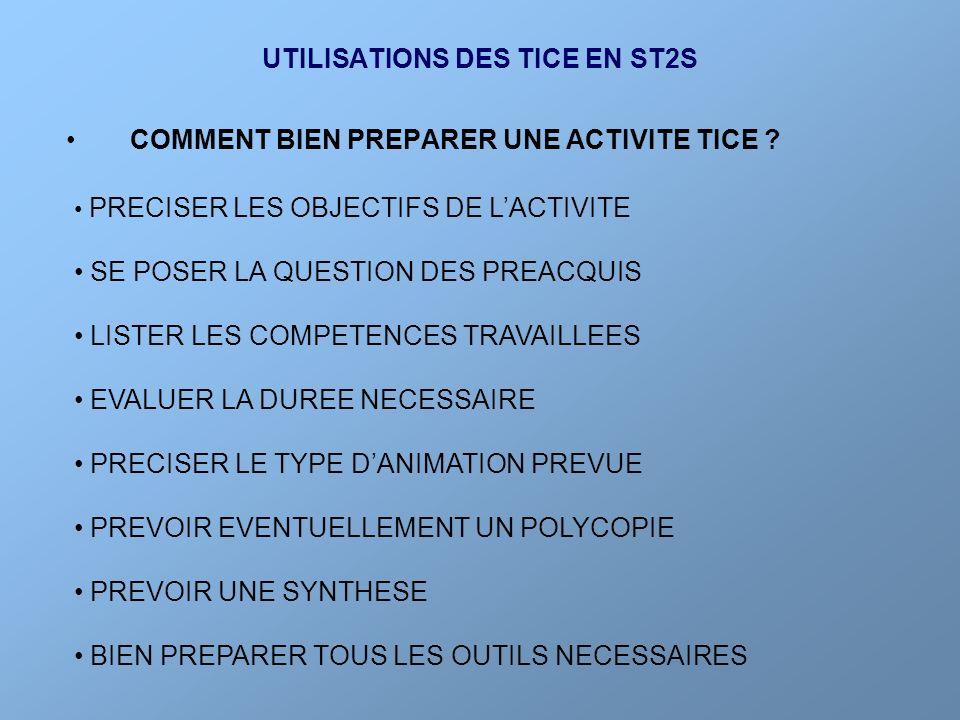 UTILISATIONS DES TICE EN ST2S